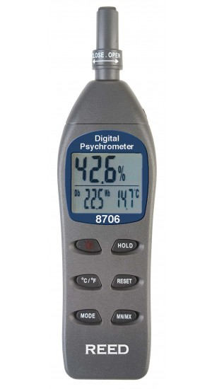 REED 8706 Digital Psychrometer / Thermo-Hygrometer, Wet Bulb, Dew Point, Temperature, Humidity-