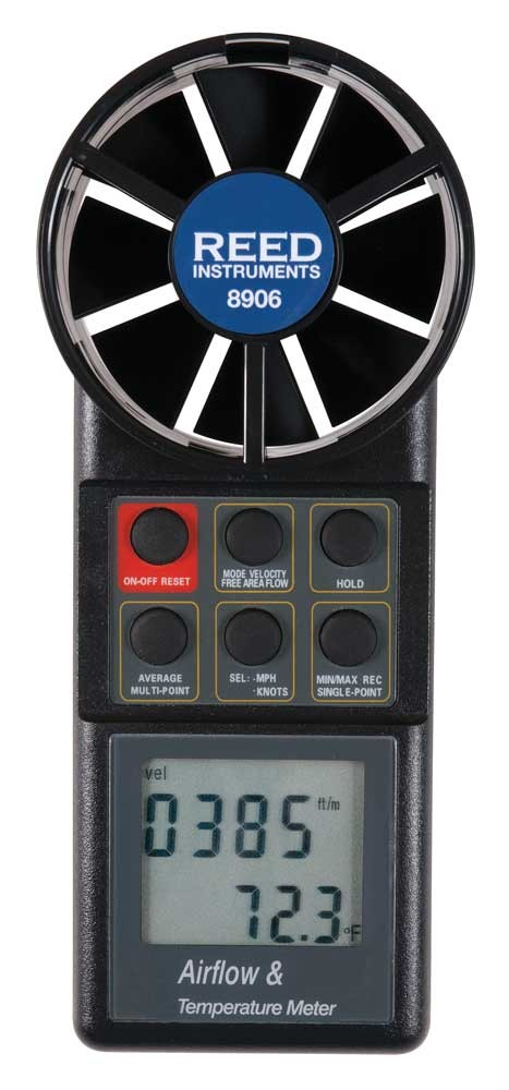 REED 8906 Vane Thermo-Anemometer, CFM (Air Volume)-