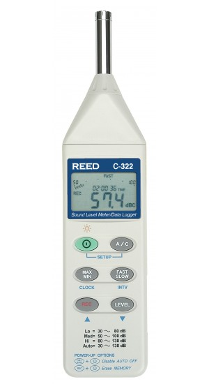 REED C-322 Sound Level Meter/Data Logger, 32 to 130dB-