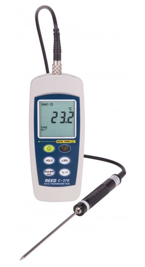 REED C-370 RTD Thermometer, -148 to 572°F (-100 to 300°C), Waterproof (IP67)-