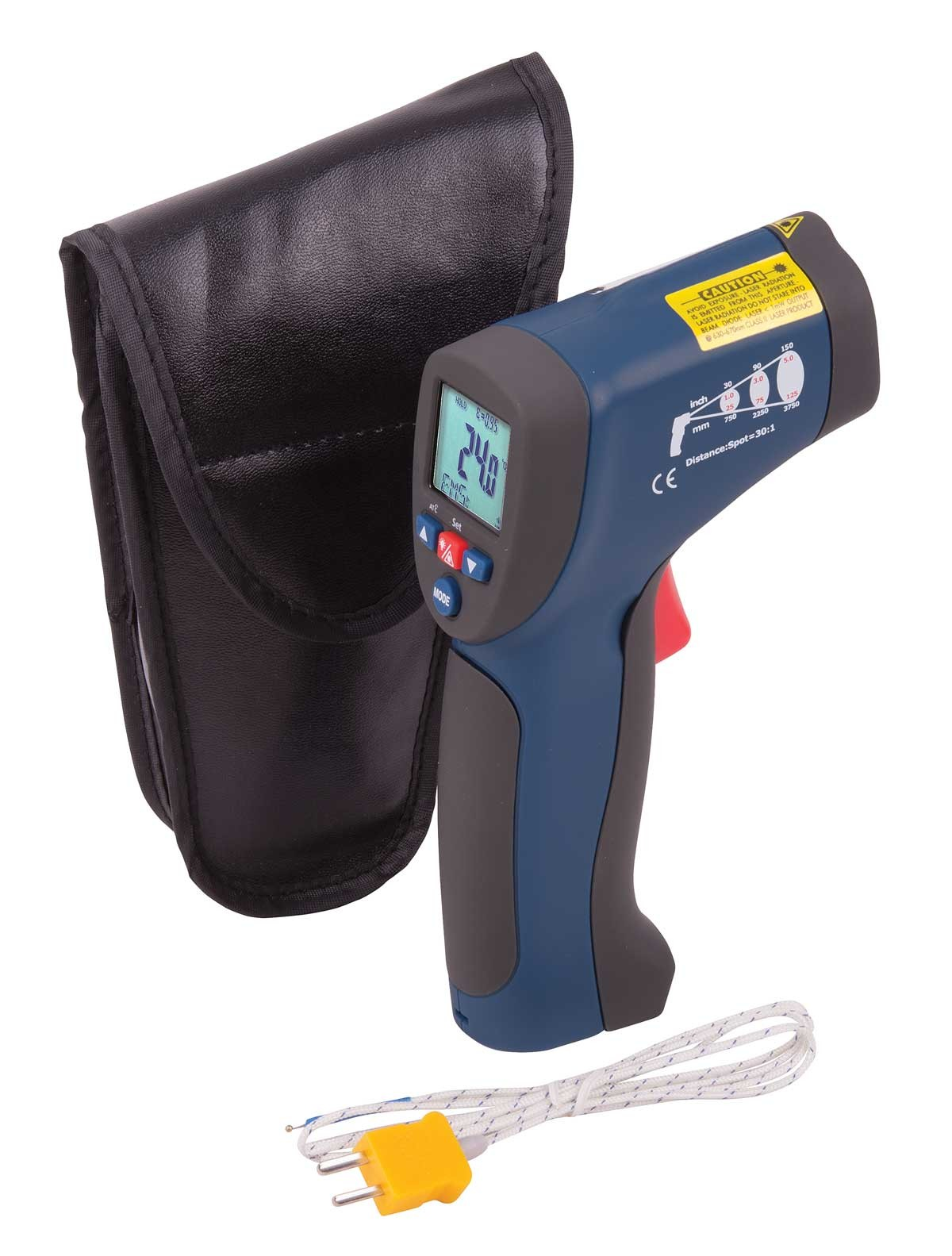 REED R2005 Infrared Thermometer, 30:1, 1922°F (1050°C), Integrated Type K Thermocouple-Included