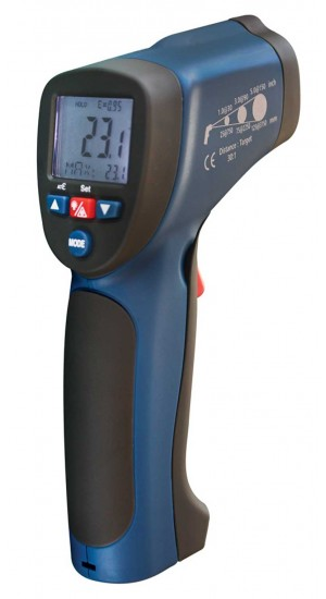 REED R2005 Infrared Thermometer, 30:1, 1922°F (1050°C), Integrated Type K Thermocouple-