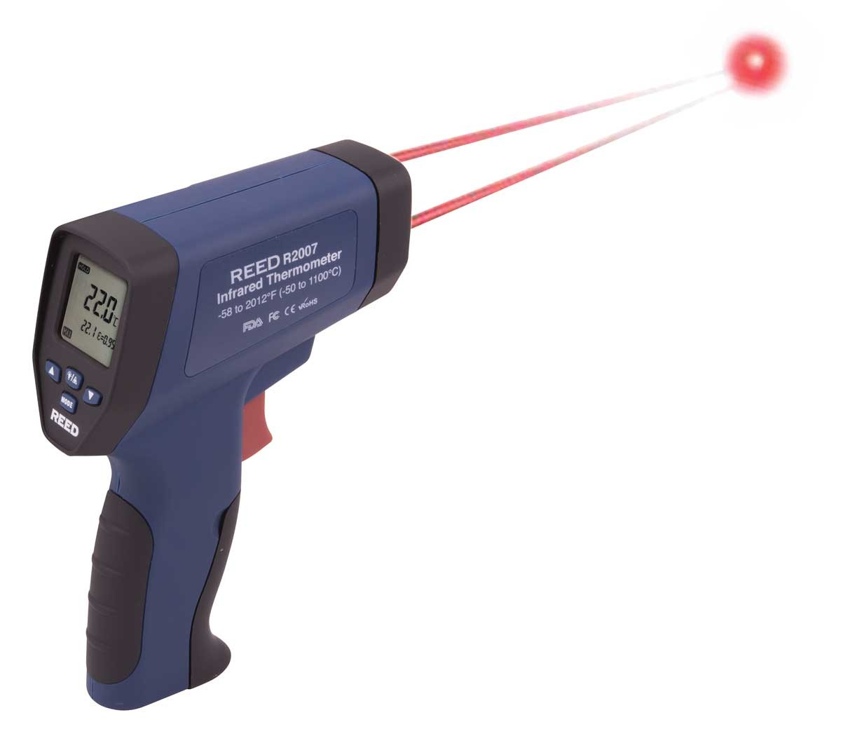 REED R2007 Dual Laser Infrared Thermometer, 50:1,  2012°F (1100°C)-REED R2007 4