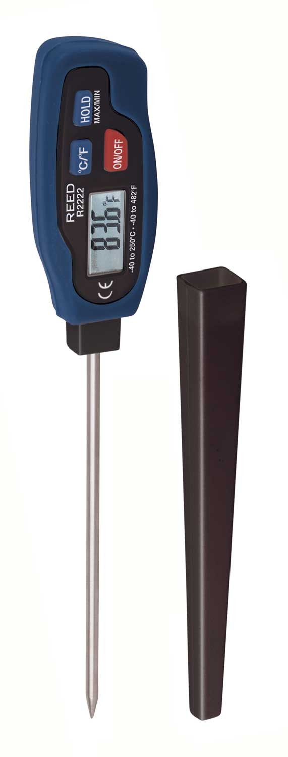 REED R2222 Stainless Steel Digital Stem Thermometer, -40 to 482°F (-40 to 250°C), Max/Min and Data Hold-
