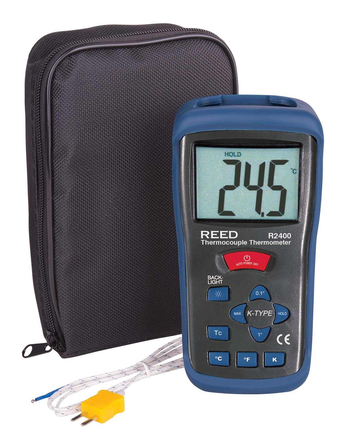 REED R2400 Type K Thermocouple Thermometer, -58 to 2000°F (-50 to 1300°C) and 223 to 2000 Kelvin-Included