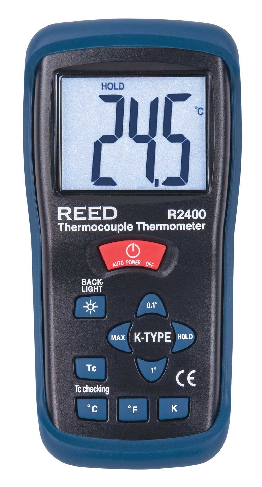 REED R2400 Type K Thermocouple Thermometer, -58 to 2000°F (-50 to 1300°C) and 223 to 2000 Kelvin-