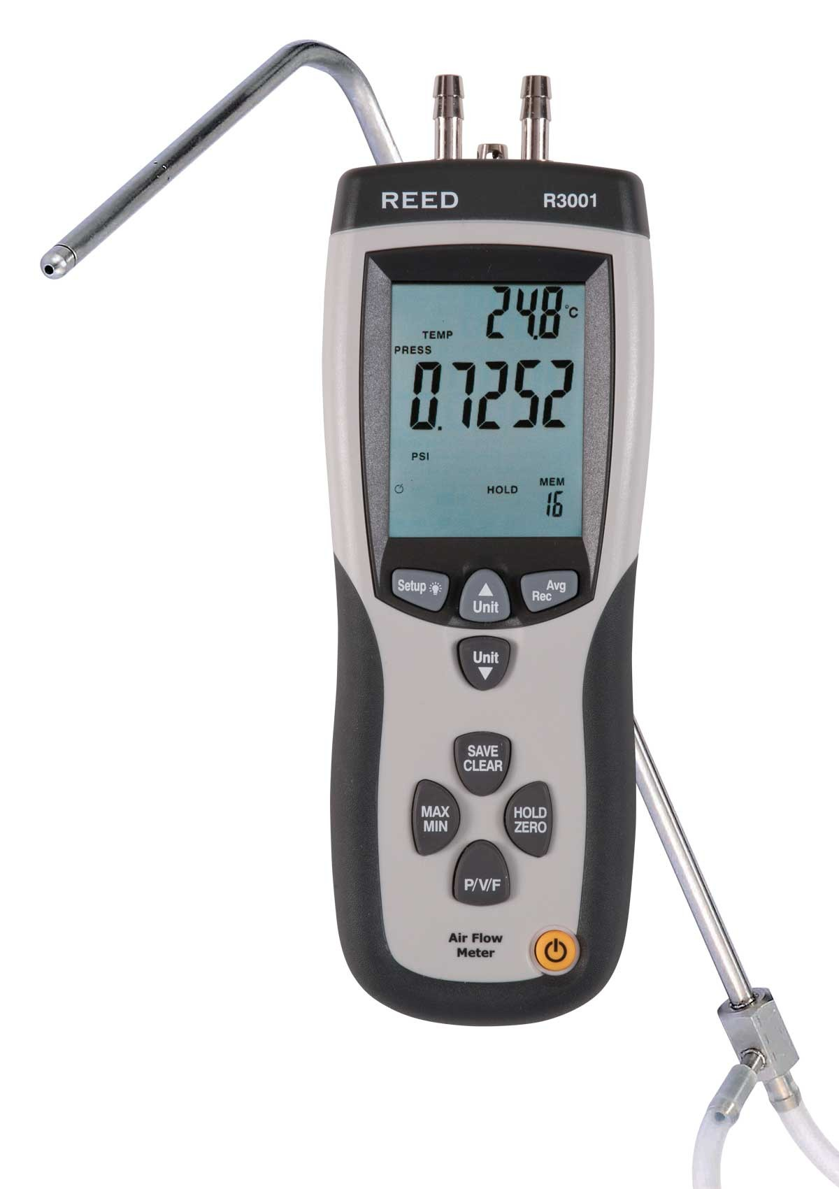 REED R3001 Pitot Tube Anemometer and Differential Manometer, with Air Volume (CFM/CMM)-REED R3001 4