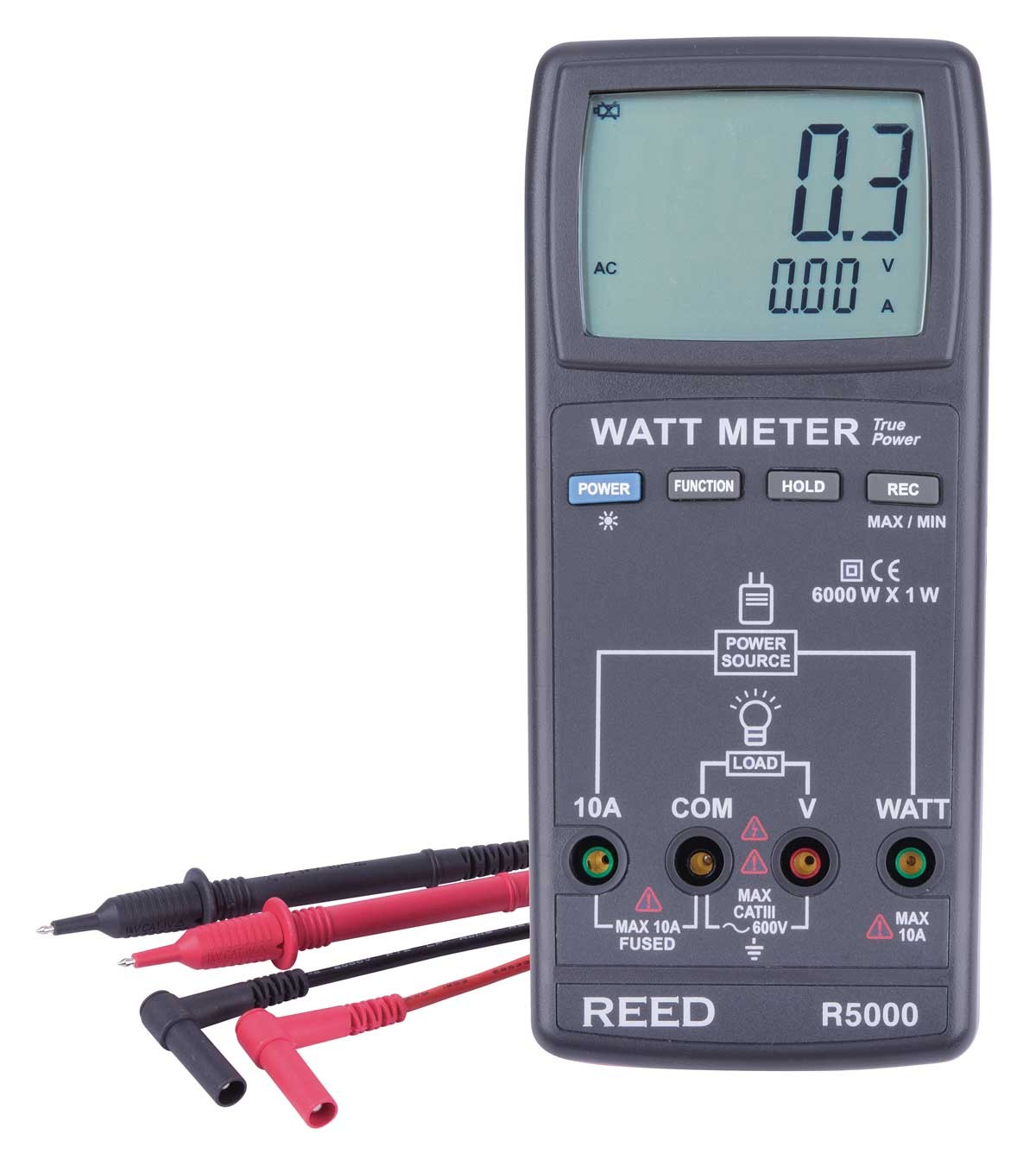 REED R5000 Autoranging Watt Meter, True RMS-Included