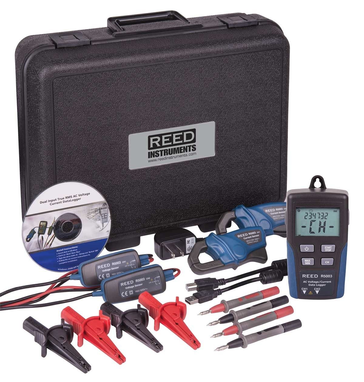 REED R5003 Dual Input True RMS AC Voltage/Current Datalogger-Included