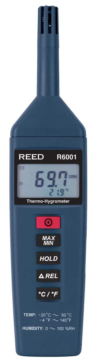 REED R6001 Thermo-Hygrometer, -4 to 140°F (-20 to 60°C), 0-100%RH-