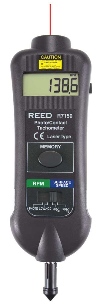 REED R7150 Professional Combination Contact / Non-Contact Laser Photo Tachometer-