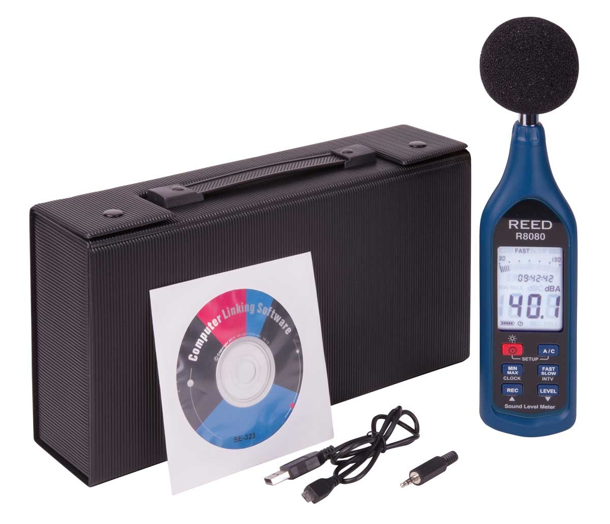 REED R8080 Data Logging Sound Level Meter with Bargraph-Included