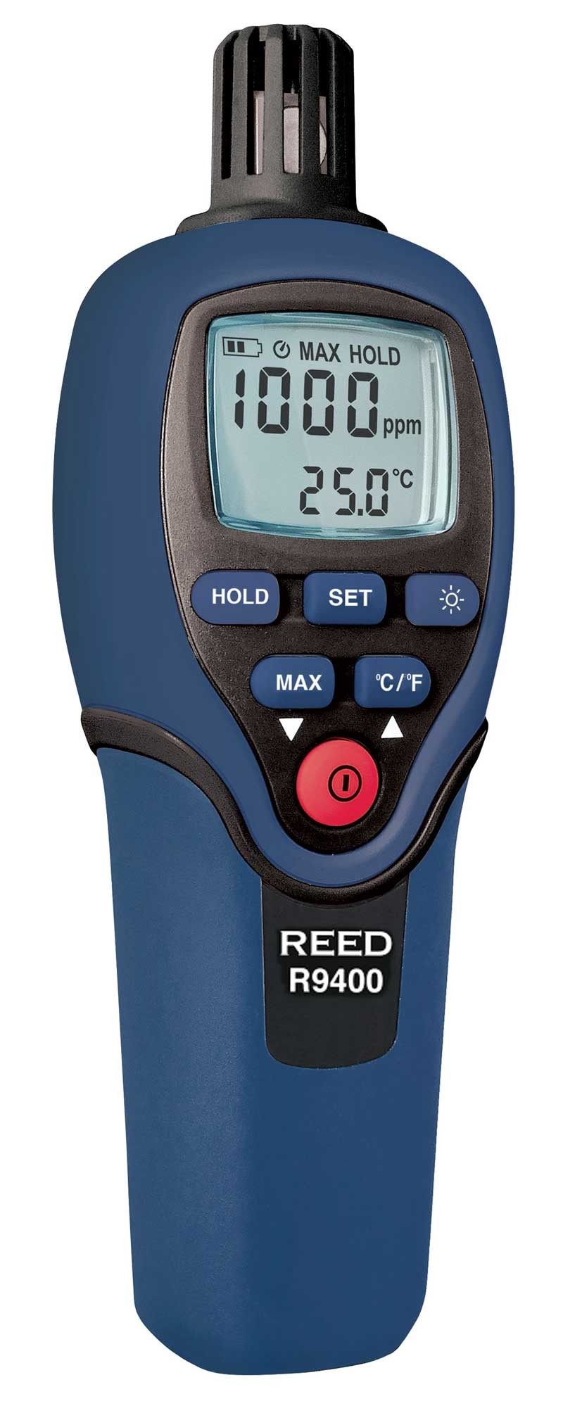 REED R9400 Carbon Monoxide Meter with Temperature, 1000ppm, -4 to 158°F (-20 to 70°C)-