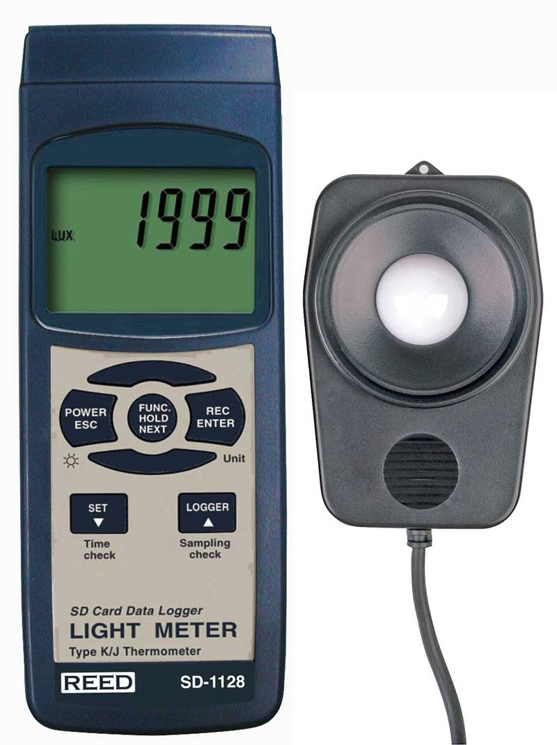 REED SD-1128 SD Series Light Meter, Datalogger, 100,000 Lux / 10,000 Foot Candles (Fc), w/ Temperature-