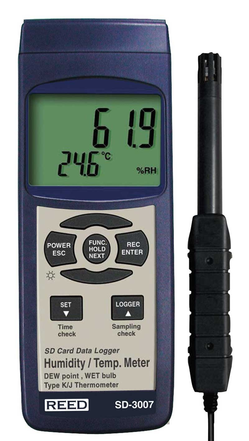 REED SD-3007 SD Series Thermo-Hygrometer Datalogger, 32 to 112°F (0 to 50°C), 5-95%RH, Wetbulb/Dewpoint Temperatures-