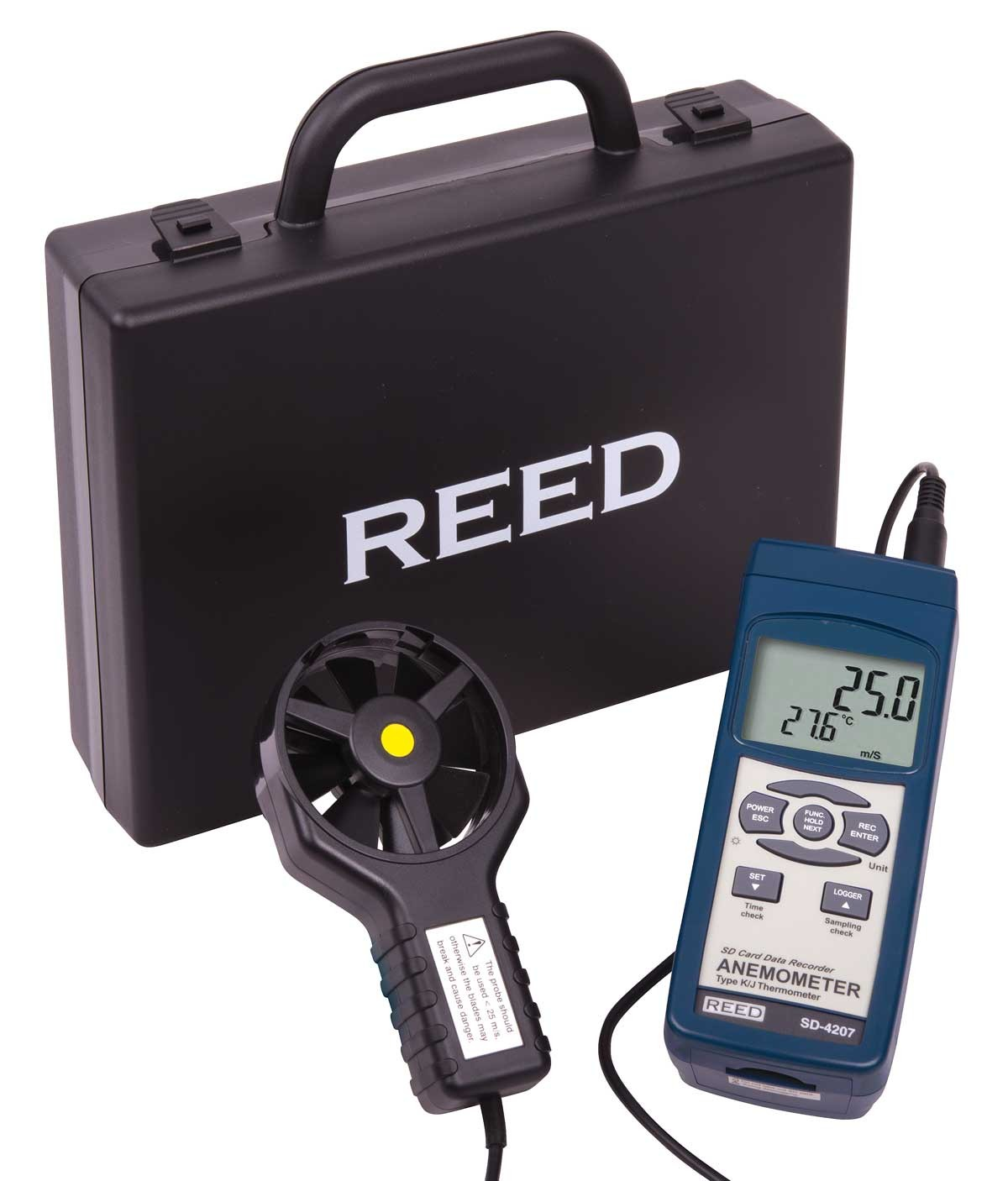REED SD-4207 SD Series Vane Thermo-Anemometer, Datalogger, with Temperature-Included