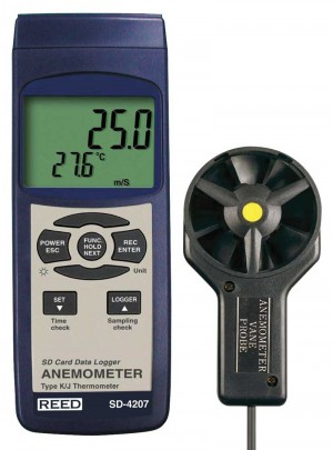 REED SD-4207 SD Series Vane Thermo-Anemometer, Datalogger, with Temperature-