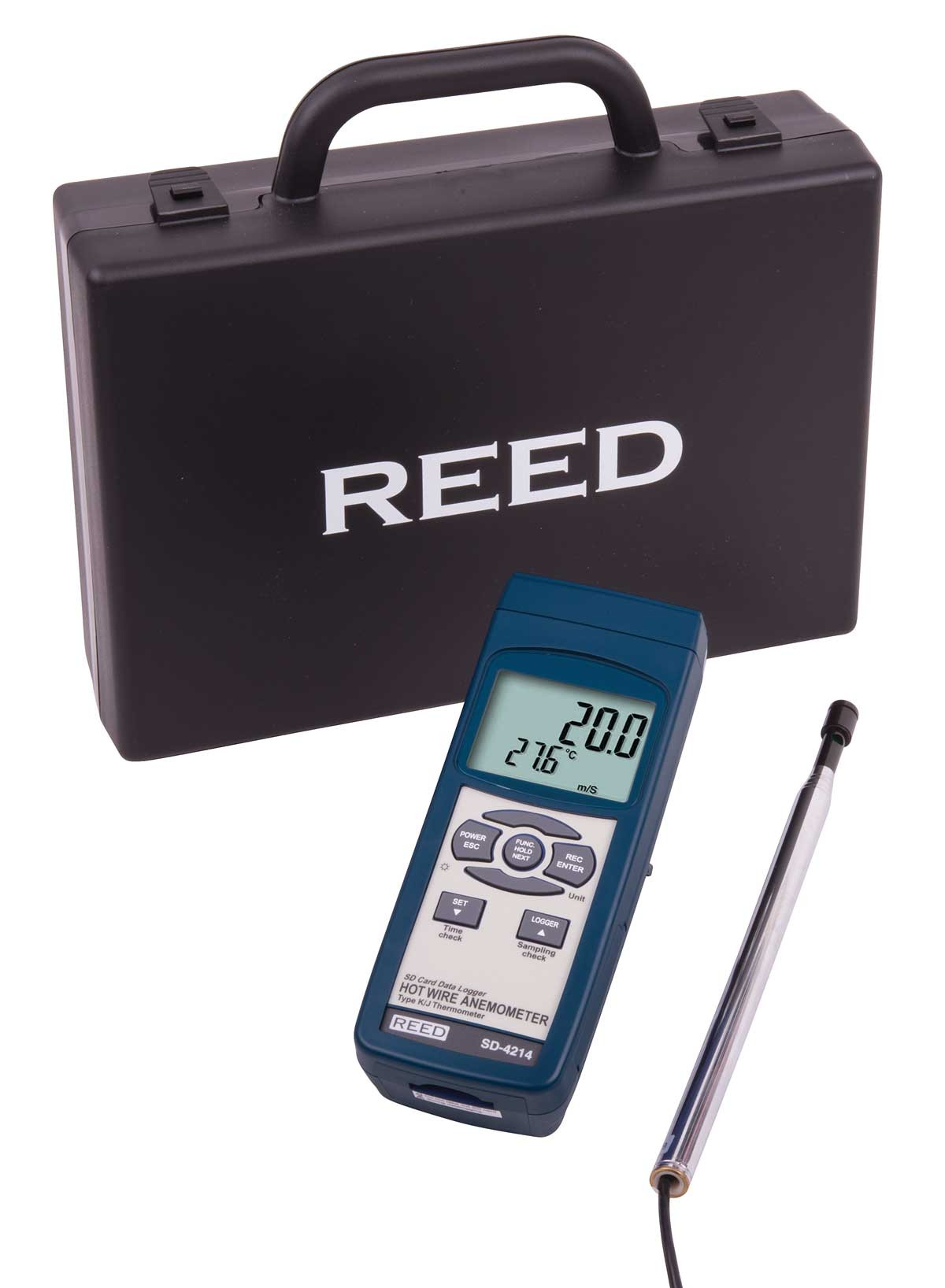 REED SD-4214 SD Series Hot Wire Thermo-Anemometer, Datalogger, with Temperature-Included