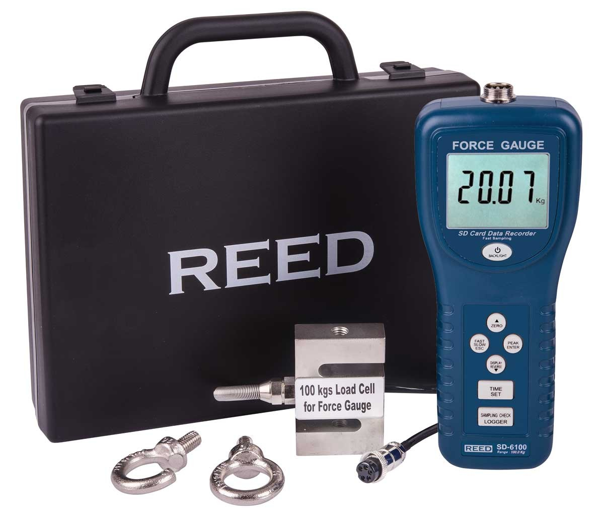 REED SD-6100 Force Gauge/Data Logger, 220 lbs (100 kg)-Included