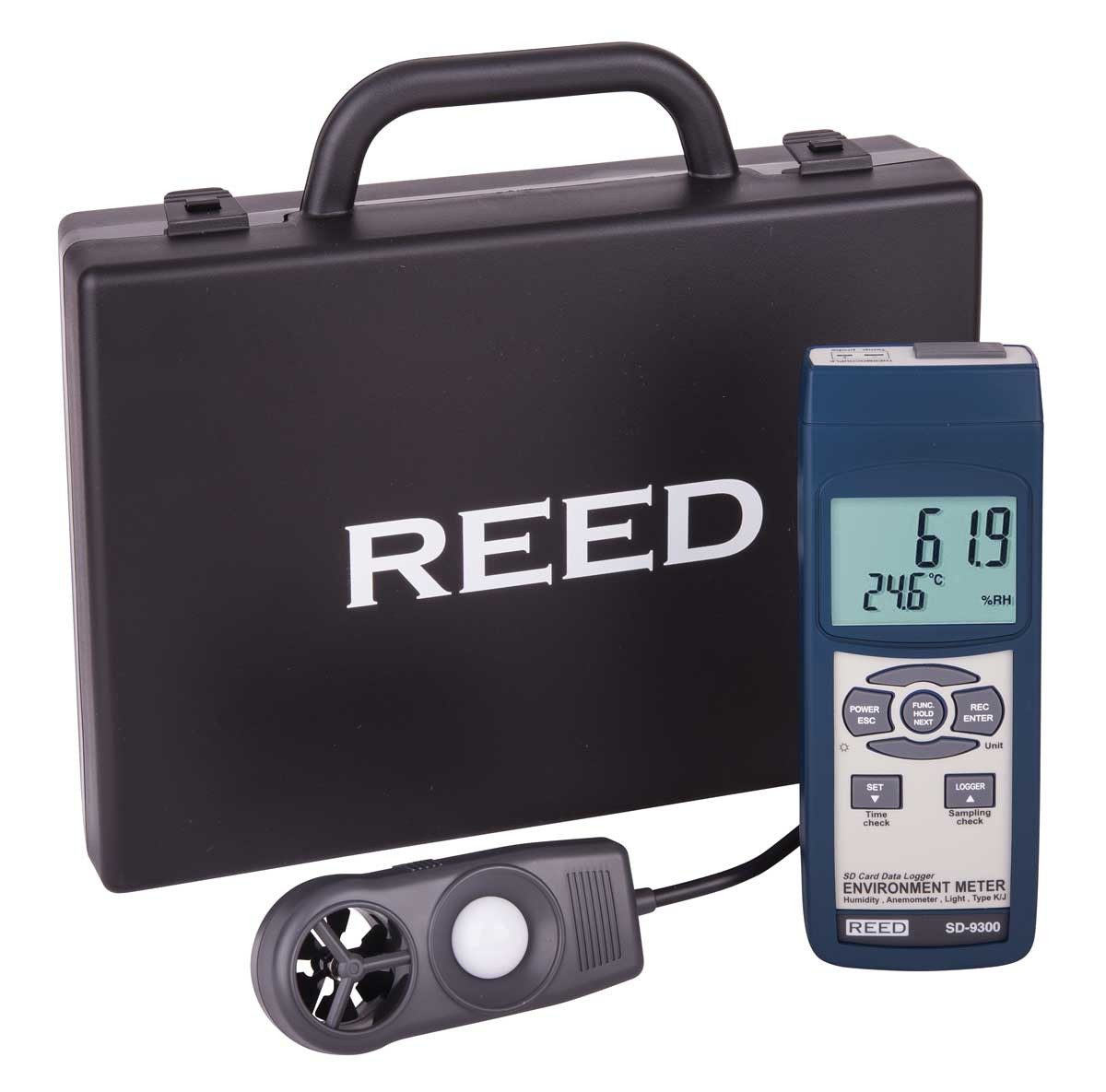 REED SD-9300 SD Series Environmental Meter, Datalogger (Air Velocity/Temp, Light, Ambient Temperature, Humidity)-Included