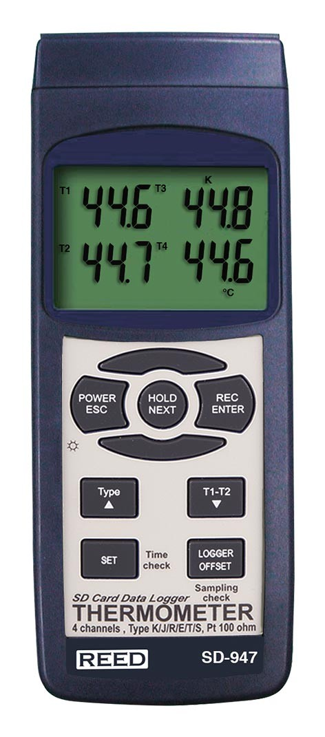REED SD-947 SD Series Thermocouple Thermometer, Data logger, 4 Channel, Type K, J, R, S, E, T and RTD-