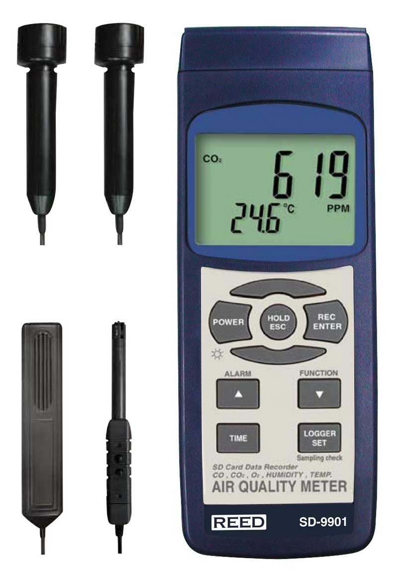 REED SD-9901 SD Series Indoor Air Quality Meter, Datalogger (O<sub>2</sub>, CO<sub>2</sub>, CO, Temp/RH)-