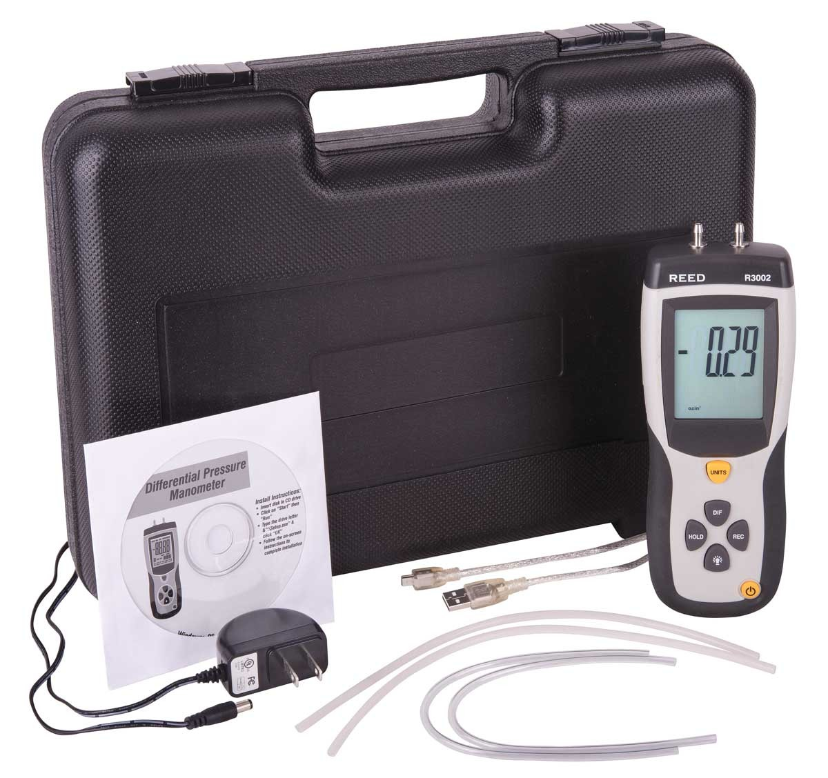 REED R3002 Digital Differential Pressure Manometer (5psi)-Included